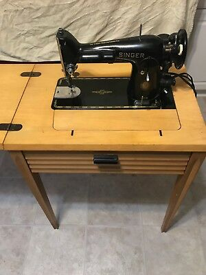 Vintage Singer Model 201 Sewing Machine with Wooden Cabinet