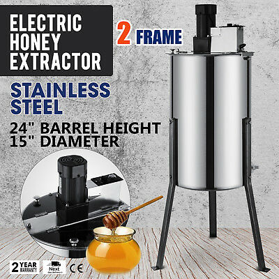 """2 Frame Electric Honey Extractor 2"""" Outlet 2 Clear  Lids Beekeeping NOVEL DESIGN"""