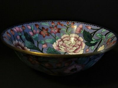 Lavender Floral Motif Bowl, Painted Enamel on Brass, Made in China