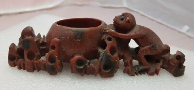 An Asian carved soapstone brush pot / dish with monkey lovely  detail
