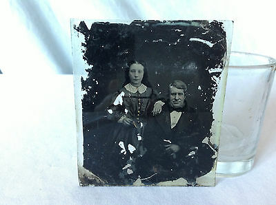 Antique Ambrotype - Father and Daughter - 1/6th Plate