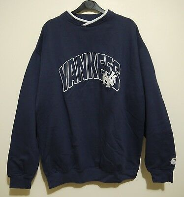 new concept e7b89 0cf32 STARTER NY YANKEES Sweatshirt Vintage 90s Spellout Blue/White Jumper Top  Size L