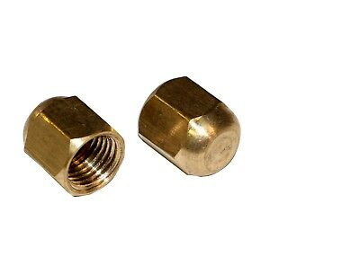"R12 R22 R502 Brass 1/4"" Service Port Caps Hex Head 2 Pack #3406"