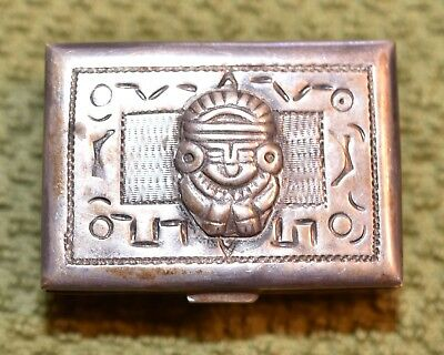 Antique Vintage Coin Silver 900 Mexican Pill Box With Embossed Figure