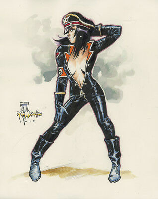 Helga in leather original marker ink art by Steve Mannion direct FEARLESS DAWN