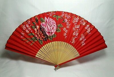 Vintage Asian Bamboo And Cloth Hand Fan - Hand Painted Pink Roses - Wee Flowers