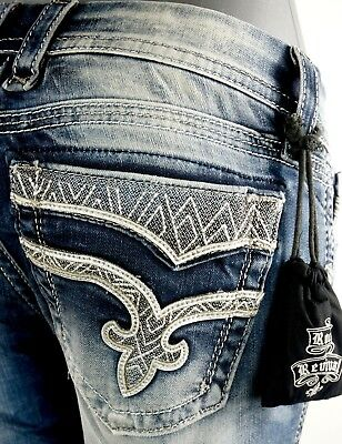"""$180 Rock Revival Womens Jeans """"Vivian"""" Leather Inserts Skinny 30 X 31"""