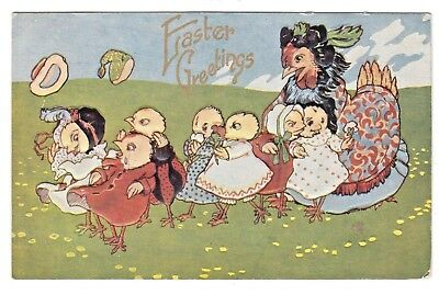 Antique Easter Postcard Humanized Dressed Hen Chicks Throw Hats in Air Embossed