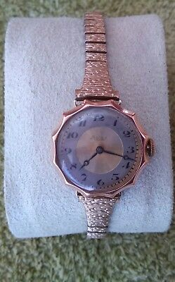 Solid Gold Case 9Ct Rolex Ladies 1920's Triple Signed Wristwatch Bracelet