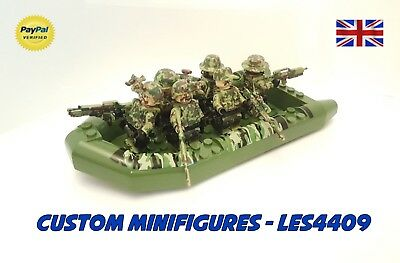 7pc Camo Army & Boat Set | Soldier Military Custom Minifigure +FREE LEGO BRICK