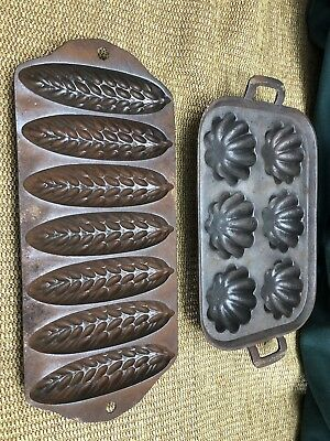 2 Vintage Cast Iron Corn Bread Stick Muffin Pans