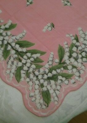 Beautiful  Vintage hankie Lily of the Valley scalloped edge Lg