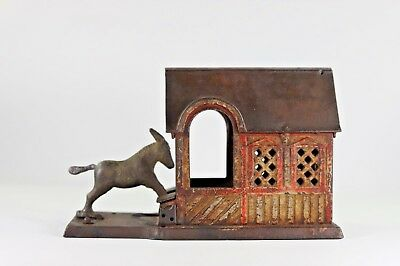 Antique Cast Iron Donkey in Barn Mechanical Bank with Original Finish