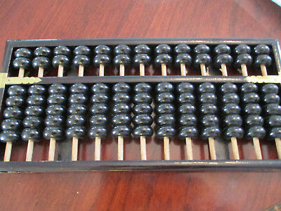 Chinese Antique Wooden Black Abacus, 19axle