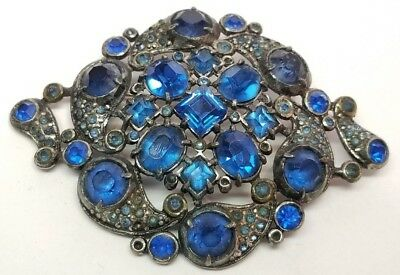 HUGE Antique Vintage Art Deco Blue Glass Rhinestone White Metal Brooch Czech