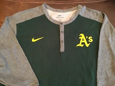 224e25471ce Nike Dri Fit Oakland Athletics Henley shirt MLB baseball A s Men s Size 3XL