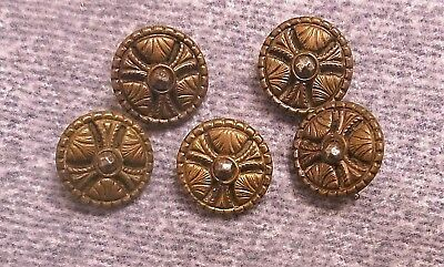 """Lot of 5 Matching Antique Vintage Brass Picture Buttons 1/2"""" Diameter Germany"""