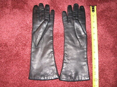 Vintage Black Leather Gloves By Superb size 7.5 Made In Italy Brand New