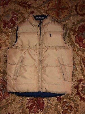 Polo Ralph Lauren Boys Reversible Down vest Navy And Gold Puffer