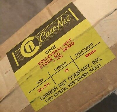 Vintage Carron Caro-net Volleyball Net, Made In USA 30320, 32'x3', Made In WI
