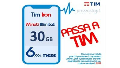 TIM IRON 30gb Minuti illimitati 6.99€ da VIRTUALI ILIAD FASTWEB HO (NO KENA)
