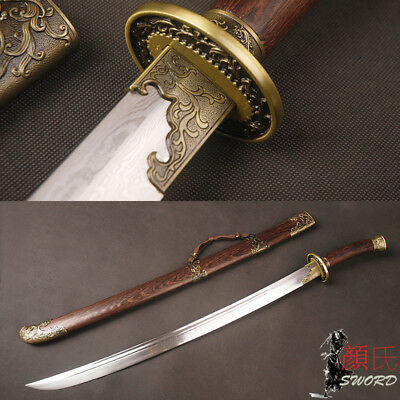 Phoenix Qing Dynasty Chinese Sword Ox-Tailed Dao Folded Steel Rose wood Handle