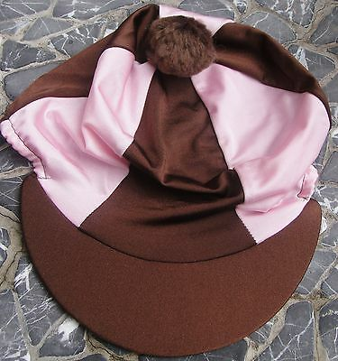 Lycra Riding Hat Silk Skull cap Cover BROWN & BABY PINK With OR without Pompom