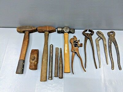 11 Lot Blacksmith, Vintage~Forge Tool Lot, Hammers, Pliers, Chisels, Punch, Swag
