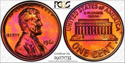 Colorfully Toned 1961 Lincoln Cent PCGS GRADED PR64RB W/TRUEVIEW