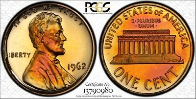 Colorfully Toned 1962 Lincoln Cent PCGS GRADED PR66RB W/TRUEVIEW