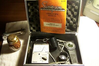 Simpson Model 408 Illumination Level Meter Foot Candles w/ Case - works perfect