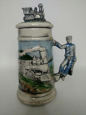 Antique Railroad Mug Stein Tankard With Locomotive Topper Engineer Handle