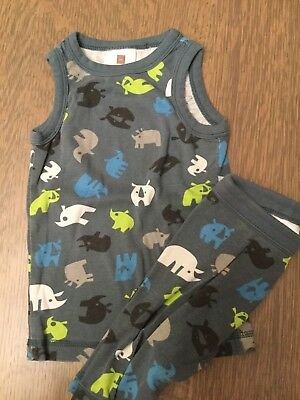 Tea Collection Boys Dino Toddler Size 3 PJ Pajama 2 Piece Set Top Bottoms Shorts