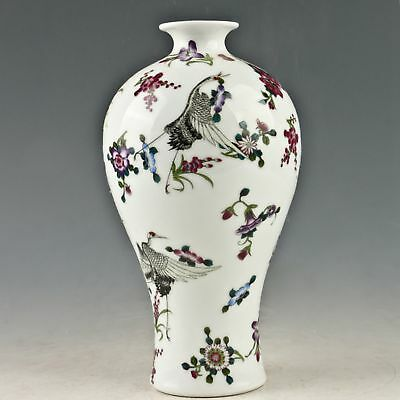 Exquisite Porcelain Hand-painted Red-crowned Crane Vase W Qianlong Mark 1