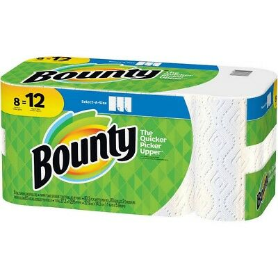 Bounty Paper Towels Roll Select A Size White 8 Pack Absorbent - NEW
