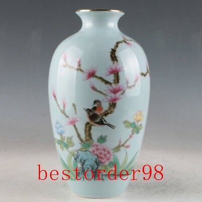 Chinese Porcelain Hand-Painted Birds & Flowers Vase W Qianlong Mark CC0116