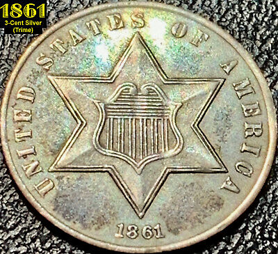 1861 3-Cent Silver (Trime) - Silver War Era - Type 3