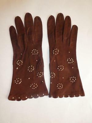 Vintage Women's Brown Suede Gloves - I. Magnin & Co. Made in France -  Size 7
