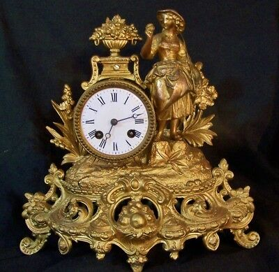 Antique French Gilt Gold Dore Figural 8Day Mantel Clock JAPY FRERES Deprez WORKS