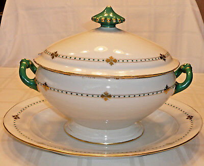 """Antique Large 14"""" Soup Tureen & 17"""" Under Plate - White with Green & Gold Detail"""