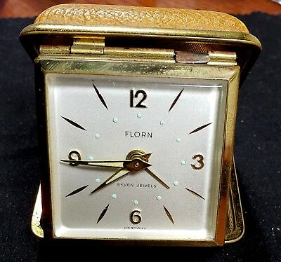 Vintage Florn 7 Jewel Mechanical Wind Up Travel Alarm Clock, Made in Germany