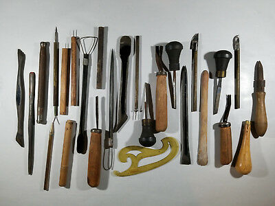 Clay Pottery Sculpting Vintage Tools (mixed lot of 25+ pieces) Art Crafts Cerami