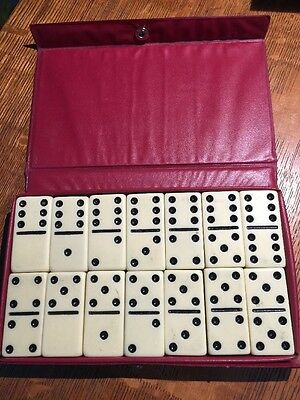 VTG Double Six Catalin Black Dot Dominoes w/ Vinyl Snap Case