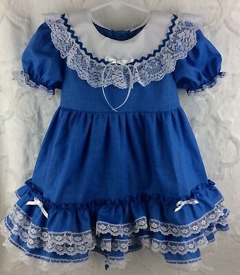 Vintage Style Toddler Size 3 Blue Ruffle Lace Frilly Custom Dress