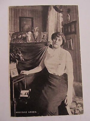 Antique UK postcard Lady Miss Evie Green written on rear, used 1904