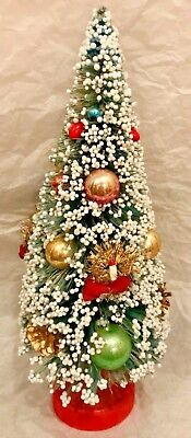 """Antique Vintage 10"""" Frosted Bottle Brush Tree Glass Beads Tinsel Wreaths Candles"""