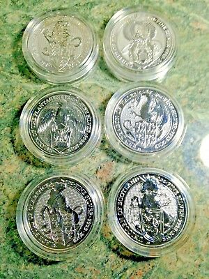 6 Set Queens Beast Silver Lion-Griffin-Dragon-Unicorn-Bull-Falcon Standard Cap