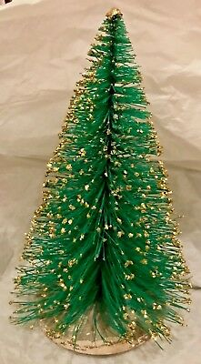 """Antique Vintage 8 1/2"""" Wiry Green Bottle Brush Tree With Gold Fleck Frosting"""