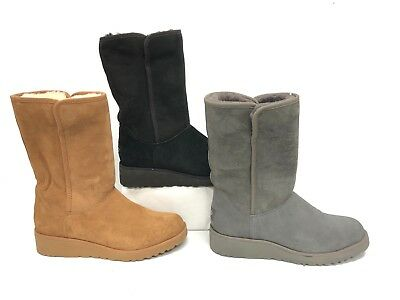 1b609102a66 UGG AUSTRALIA AMIE Grey Chestnut Black CLASSIC SLIM SHEEPSKIN WEDGE BOOT  1013428