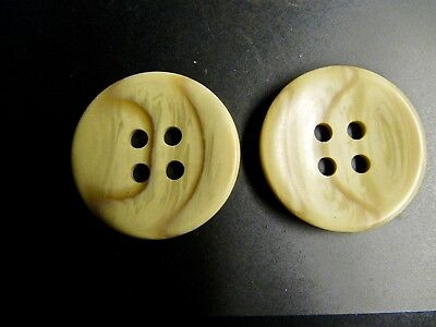 """Pair Vintage Vegetable Ivory 4 Hole Buttons Cream/brown/stripe 2"""""""
